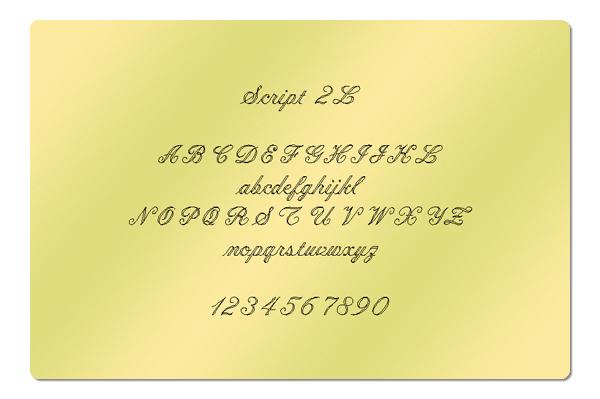 Gravur Schriftart Script 2L