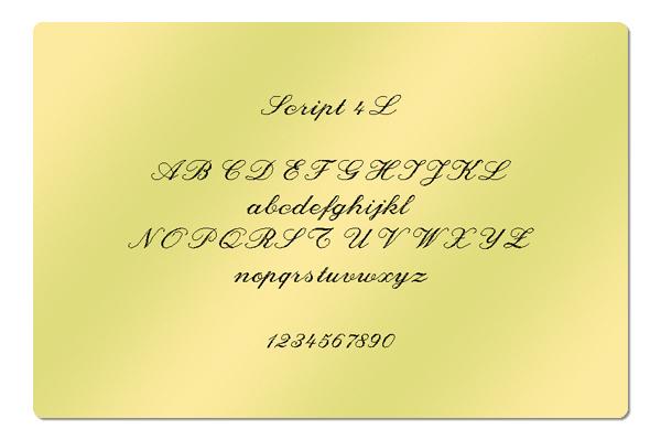 Gravur Schriftart Script 4L