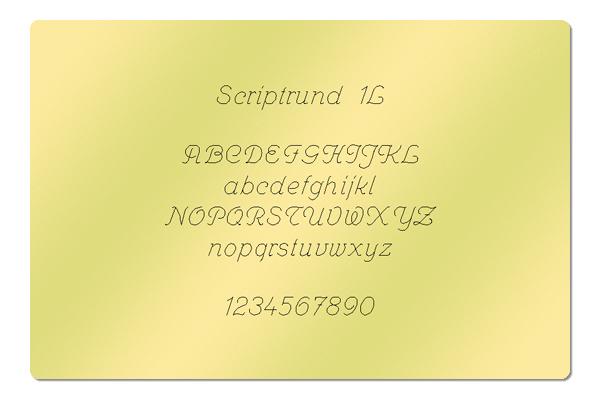 Gravur Schriftart Scriptrund 1L