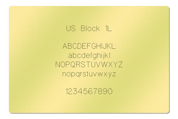 Gravur Schriftart US Block 1L